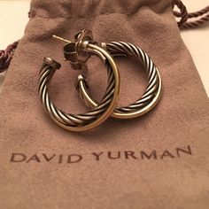 """David Yurman Crossover Hoop Earring Used once gorgeous authentic DY earrings. .925 silver with 14 k gold crossover and gold post. Comes with dustbag. About 1"""" David Yurman Jewelry Earrings"""