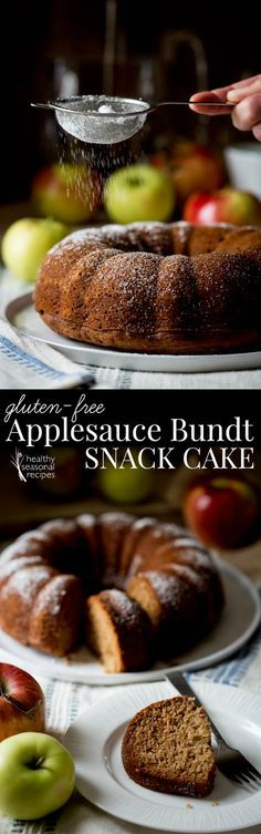 gluten free applesauce bundt snack cake - Healthy Seasonal Recipes | This would be so great this Fall to have on hand!