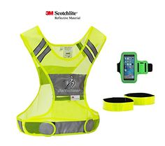 Reflective Running Vest with Sport Armband  Premium 3M Safety Clothing  Bonus Arm Ankle Bands  for Walking Jogging Cycling in Dark  High Visibility Accessories for Men Women Children LXL -- You can find out more details at the link of the image.(This is an Amazon affiliate link and I receive a commission for the sales)