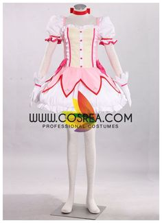 Costume Detail Puella Magi Madoka Magica Madoka Kaname Cosplay Costume Set Includes: Dress, Skirt, Hair Ribbon Set, Choker, Gloves, Bow Tie, Leg Bow Tie, Soul Gem Please see individual tabs for inform