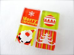 Traditional Red and Green Christmas Magnet Set $7.00