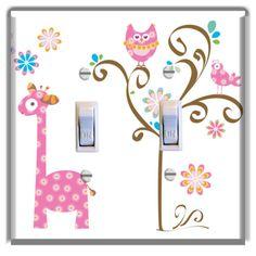 Owl-Tree-Giraffe-Pink-Light-Switch-Plate-Cover-Nursery-Kids-Room-Home-Decor