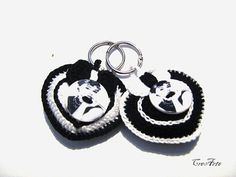Crochet keychains Black and White Keychains by CreArtebyPatty