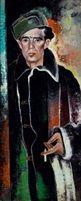 Franz Xaver Fuhr - Rauchender Mann mit Bärenmütze, ca. 1928–1930