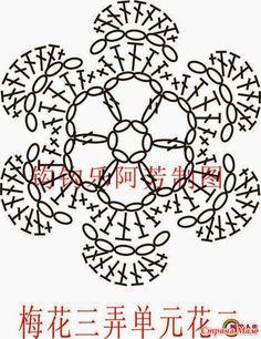 Crochê e tricô da Fri, Fri´s crochet and tricot: Dezember 2010 Modern Crochet Patterns, Crochet Mandala Pattern, Crochet Flower Patterns, Crochet Diagram, Crochet Squares, Crochet Patterns Amigurumi, Crochet Flowers, Crochet Doilies, Crochet Cord