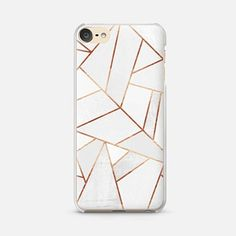 iPod Touch 6 Case White Stone and Copper Lines