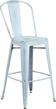 30'' High Distressed Dream Blue Metal Indoor Barstool with Back. Completely transform your living or restaurant space with this distressed barstool. Adding colorful chairs can rev up any setting. The versatility of this chair easily conforms in different environments. The legs have protective rubber feet that prevent damage to flooring. So whether you're using this stool for your kitchen, patio or bistro, it is sure to liven up your decor. [ET-3534-30-DB-GG] * Bistro Style Barstool * Curved…