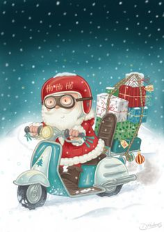 Darran Holmes - DH118 Santa on a Motor bike.jpg