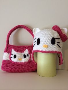 Crochet Hello Kitty Bag & Hat by CrochetbyBennie on Etsy