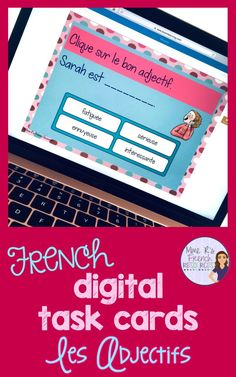 These digital task cards for French class are a fun and engaging way to practice or assess present tense French adjectives. Students will love practicing their vocabulary, and teachers will love how easy it is to use these self-checking cards! Great for FSL/Core French classes and French immersion. Click here to see a playable preview at Boom Learning! #paperlessclassroom #CoreFrench #grammaire #Boomlearning