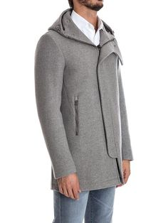 Grey wool blend duffle coat from #Herno featuring a drawstring hood, a concealed front fastening, long sleeves, front zipped pockets, a straight hem and an exposed seam detail.  Shop now http://bit.ly/herno-pa0010u  #inzerillostore