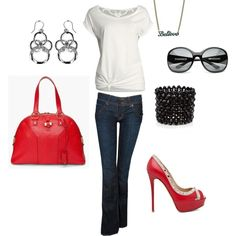 Casual red, created by katie445 on Polyvore