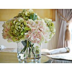 I want a small, faux hydrangea arrangement like this for my nightstand.
