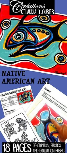 Native American Art: Art Lesson for Kids Art project for grade 5 & junior high and high school. Create a painting in the manner of Norval Morisseau. You will need acetate paper, permanent felt marker and acrylic paints. It is interesting to use this act Art Lessons For Kids, Art Lessons Elementary, History Classroom, Art Classroom, Native Art, Native American Art, American History, Canadian History, Classe D'art