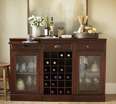 I really like the look of this. Modular Bar Buffet with 2 Glass Door Bases & 1 Wine Grid Base #potterybarn