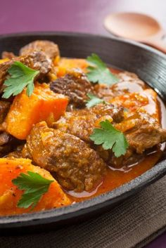 A recipe for Slow Cooked Beef with Sweet Potato and Peanut Sauce, a recipe from Lose Baby Weight which is a safe and healthy way to lose weight after having a Moroccan Beef Stew, Healthy Mummy Recipes, Patatas Guisadas, Slow Cooker Recipes, Cooking Recipes, Meat Recipes, Guisado, Sweet Potato Chili, Potato Curry