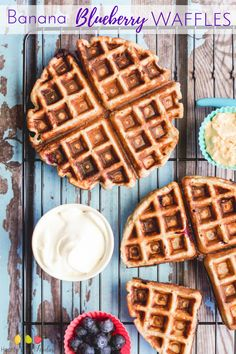 Banana blueberry waffles. Great breakfast for kids, good for BLW (baby led weaning), no refined sugar