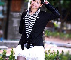 Fake Two-Piece Stripe Slim Cardigan Black