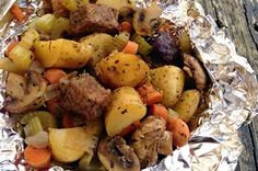 Super Easy - Foil-pack hobo stew - can sub ground beef for stew meat (patties or meat ball style.)  Throw this on the grill instead of everyday burgers an hotdogs at your next summer party