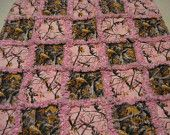 Pink and Brown Real Tree Camo Baby Girl Rag Quilt Blanket 36x36
