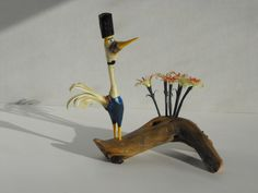 Whimsical Hand Carved Critter and Flowers by JJLadellsWoodcarving  #etsy #etsyRMP