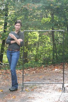 """DIY clothes rack    ALL 1/2 in pipe    1 4ft (top)    2 5ft (sides)    2 2ft (bottom across)    4 8"""" (bottom stands across)    6 nipples    1 coupling    4 Ts    6 90 degree elbows    4 bases    Start at the top corner and work yourself across and down ending with connecting the bottom 2 2ft bars with coupling. This is important just trust me :)"""