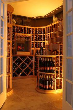 WOW!!!! This Is amazing! Custom wine cellar. Bontrager Custom Homes Dream home, dream house, dream cellar, basement
