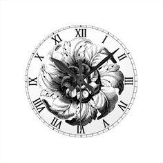 Vintage Modern Flower Design In Black And White Clock
