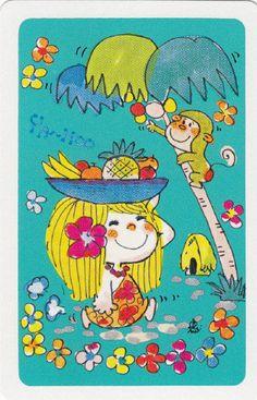 * Vintage Swap / Playing Card - 1 Single - Japanese, Ado Mizumori girl - troppo