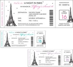 Paris Party Boarding Pass Invitation / Here's your boarding pass to a night in Paris!                                                                                                                                                                                 Más