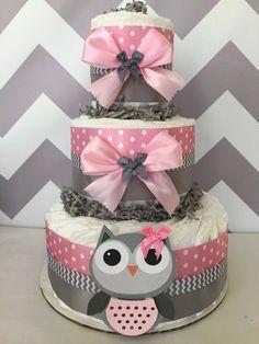 Búho bebé ducha pañal torta en rosa y gris/buho por AllDiaperCakes