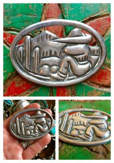 Mexican Repoussé Sterling Silver Brooch Cactus Bordertown Tourist Jewe – Yourgreatfinds