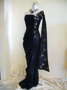 1950's Godden Modell Glamorous COUTURE Bombshell Draped Ruched One Shoulder Train Evening Gown Dress