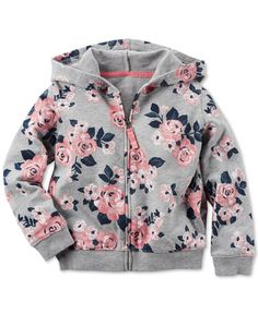 Carter's Toddler Girls' Floral-Print Hoodie - April 20 2019 at Baby Outfits, Little Girl Outfits, Little Girl Fashion, Kids Outfits, Kids Fashion, Cheap Fashion, Fall Toddler Outfits, Toddler Girl Style, Toddler Girls