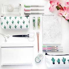 A beautiful flat lay of cactus stationery from MissRosieShop.com!