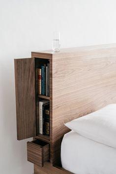 Bedroom Bed Design, Bedroom Furniture Design, Home Room Design, Bed Furniture, Custom Furniture, Home Bedroom, Bedroom Decor, Diy Storage Headboard, Bed Frame With Storage