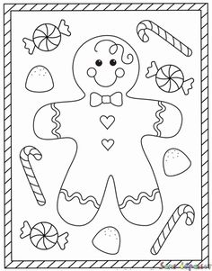 Free Christmas coloring pages – gingerbread man coloring sheets – gingerbread boy Make your world more colorful with free printable coloring pages from italks. Our free coloring pages for adults and kids. Preschool Christmas, Christmas Crafts For Kids, Christmas Activities, Christmas Colors, Christmas Art, Christmas Themes, Holiday Crafts, Vintage Christmas, Christmas Jokes