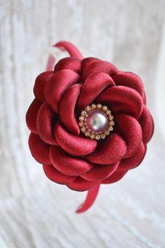 Red Flower Headband Valentine's Headband by LilMajestyBoutique