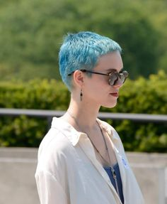 ice blue buzz cut