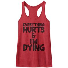 American Classics Red 'Everything Hurts' Racerback Tank ($15) ❤ liked on Polyvore
