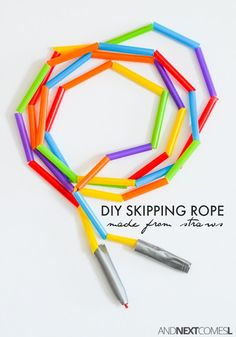 How to make an easy DIY skipping rope for kids using dollar store straws. A perfect fine motor craft for toddlers, preschoolers, or kids of any age! Toddler Preschool, Toddler Crafts, Diy Toys Doll, Fine Motor Activities For Kids, Work Activities, Physical Activities, Preschool Activities, Sport Craft, Kids Sports Crafts