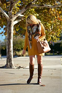 Thanksgiving outfit idea. Over sized Sweater Dress with Over sized Blanket Scarf and Tall boots