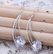 33% OFF Cubic Zirconia Crystal Silver Drop Earrings. ONLY $11.95 with free shipping