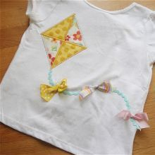 Kite Applique Shirt with Ribbon and Ric Rac by shellie181 on Etsy, $18.00