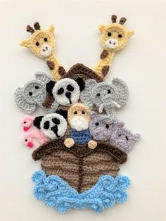 Crochet Bunting Free Pattern, Crochet Unicorn Pattern, Crochet Appliques, Crochet Sea Creatures, Crochet Animals, Baby Knitting Patterns, Crochet Patterns, Nautical Crochet, Baby Applique