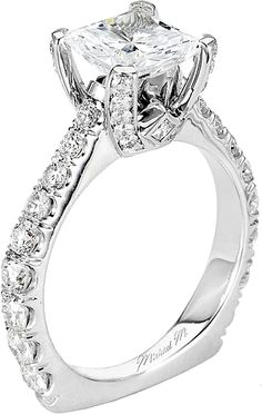 Handcrafted U-set diamond and pave ring with princess cut side bezels. Available in platinum, as well as white, yellow, or rose gold.View now at Michael M. Diamond Wedding Bands, Diamond Rings, Diamond Jewelry, Jewelry Rings, Jewlery, Engagement Ring Photos, Engagement Sets, Diamond Engagement Rings, Wedding Jewelry