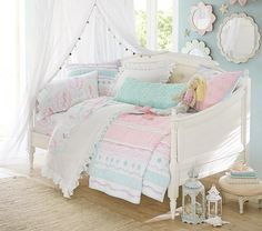 BLove the wall color and mirror decor with white curtains Bailey Ruffle Quilted Bedding