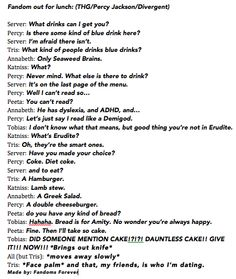 Fandoms out for lunch (THG/Percy Jackson/Divergent). Made by: Fandoms Forever
