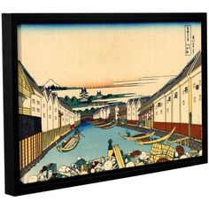 ArtWall Katsushika Hokusai Nihonbashi in Edo Gallery-Wrapped Floater-Framed Canvas, Size: 24 x 36, Blue