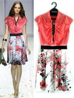 Romantic Pink 70% Real Silk 30% Polyester Women's Print Dress